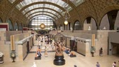 gare : PARIS, FRANCE - 10 JUNE, 2017: Interior view of Musee dOrsay timelapse. Museum has the largest collection of impressionist art in the world Stock Footage