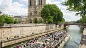 paryż : PARIS, FRANCE - JUNE 5, 2017: Ship passing by the Seine river past the Notre Dame de Paris cathedral daylight tilt and pan video