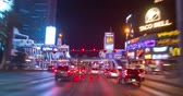 las vegas strip : Las Vegas, USA - January 02, 2018: Hyperlapse traffic view of and neon lights on the streets of Las Vegas at night
