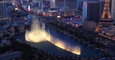 week end : Las Vegas, USA - January 02, 2018: Illuminated view Bellagio Hotel fountains
