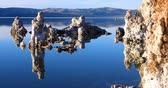 água salgada : Mono lake tufas with reflection in calm water close-up on sunrise. Stock Footage