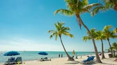 People having a rest on the Smathers beach - Key West, Florida. Raw video source. Stock Footage