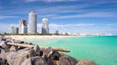 Miami South Beach daytime videw with stones on foreground. Stock Footage