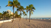 Fort Lauderdale beach on sunrise. Raw video source. Stock Footage