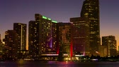 Panorama of Miami downtown skyline at sunset, Florida, USA. Stok Video