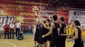dunking : DONETSK, UKRAINE- 10 June 2014: Winners of the basketball tournament received a cup Stock Footage