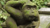 liána : Statue of mythical animal. Mossy sculpture in Monkey forest. Ubud, Bali, Indonesia.