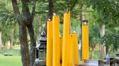 lumpini : High large yellow candles burn near temple in Lumpini Park. Bangkok, Thailand. Stock Footage