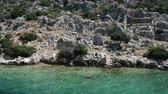 schody : Ruins of Sunken city on Kekova, small Turkish island near Demre. Antalya province, Turkey.