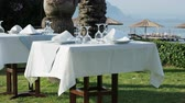 çalı : Tables, served for dinner on green lawn. Open air mediterranean meal under palms. Dinner on seaside. Stok Video