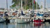 cordame : KEMER, TURKEY - May 13, 2018. Many yachts moored to the pier in port of Kemer town. Vídeos