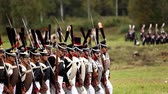 sword : BORODINO, RUSSIA - September 06, 2015 - Reenactment of the battle of Borodino the Patriotic war of 1812 year . Tourists watch the performance from from the fenced places. Moscow region, Russia. Stock Footage