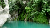 videira : Goynuk river flows through a beautiful canyon. Natural landmark in Antalya province of Turkey. Water part of Lycian trail. Stock Footage