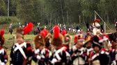 cavaleiro : BORODINO, RUSSIA - September 06, 2015 - Reenactment of the battle of Borodino the Patriotic war of 1812 year . Tourists watch the performance from from the fenced places. Moscow region, Russia. Stock Footage