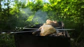 жарить : Pieces of chicken are baked on skewers on the grill. Chicken thigh BBQ. Outdoor barbecue in summer.