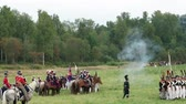 BORODINO, RUSSIA - September 02, 2017 - Reenactment of the battle of Borodino the Patriotic war of 1812 year . Tourists watch the performance from from the fenced places. Dostupné videozáznamy
