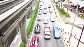 mrt : Kuala Lumpur, Malaysia - December 31st 2017: Kuala Lumpur heavy traffic pack with cars during rush hour near Monorail or train station on a city road