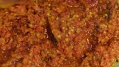 çili : Stir fried blended chili paste Stok Video