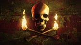 Skull and torches made of bones on a grunge background. Pirate flag symbol. Loop. Стоковые видеозаписи