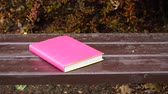 literatura : Nobody. Bookin pink cover lying on bench in autumn park. Leisure, education, literature and relax concept. 4K steadicam shot ProRes HQ codec