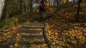 downstairs : Woman girl walking on stairs in autumn park forest. 4K ProRes HQ codec. Stock Footage