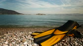 diving equipment : Yellow fins flippers on sea shore timelapse 4K Stock Footage