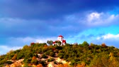 európa : Little church on hill, Macedonia time lapse