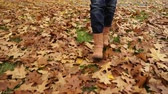 brim : Woman walking on autumn fall grass and leaves. Closeup of female legs in brown shoes boots. 4K steadicam shot ProRes HQ codec.