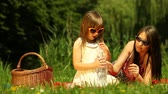 Picnic. Girl child drinking water from bottle. Mother woman using tablet touchpad on the meadow or in the park.