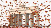brandenburg : Brandenburg Gate with cloud of hearts colors Germany Stock Footage