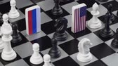 domínio : Symbols of Russia and the United States on the chessboard. The concept of political game.