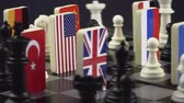indépendance : Symbols of the flags of the world on the chessboard. The concept of political game.