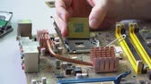 electronic technician assemble motherboard. PC repair. Install processor