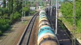train with tank cars on the railroad tracks, top view