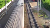 passenger train on the railway, top view Wideo