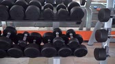 row of dumbbells in a modern gym Wideo