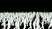 step : Silhouettes crowd walking, camera fly over Stock Footage