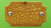 リベット : Wind blows on raindrops on a light wooden board with iron bolts. Isolated on green background.