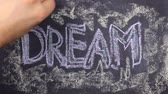 вывеска : Word dream, written with chalk on blackboard. Стоковые видеозаписи