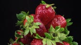 owoce : Raindrops fall on a rotating pile of ripe strawberry. Isolated Wideo