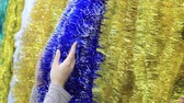 cicili bicili : Christmas tinsel and womens hands Stok Video