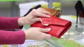 carteira : female hands chooses a female handbag in the store