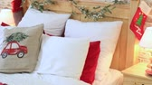 cobertor : Pillows, blankets, inscriptions, lamps and a cup in a photo studio. Stock Footage
