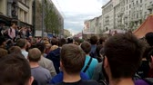 objection : RUSSIA, MOSCOW - JUNE 12, 2017: Rally Against Corruption Organized by Navalny on Tverskaya Street. The crowd chanted: Medvedev to answer Stock Footage