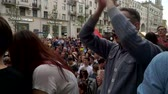 objection : RUSSIA, MOSCOW - JUNE 12, 2017: Rally Against Corruption Organized by Navalny on Tverskaya Street. The crowd chanted: Putin is a thief Stock Footage