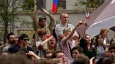 objection : RUSSIA, MOSCOW - JUNE 12, 2017: Rally Against Corruption Organized by Navalny on Tverskaya Street. The crowd chanted: we have questions, we want answers