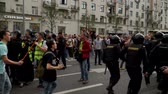 objection : RUSSIA, MOSCOW - JUNE 12, 2017: Rally Against Corruption Organized by Navalny on Tverskaya Street. The police removes the detainee from the crowd, people shout: Shame