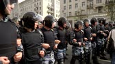 objection : RUSSIA, MOSCOW - JUNE 12, 2017: Rally Against Corruption Organized by Navalny on Tverskaya Street. The police pushes the crowd toward the exit Stock Footage