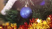 dark : Christmas tree with Colorful bokeh and christmas lights Stock Footage