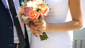 amor : the Bride and groom holding hands Stock Footage